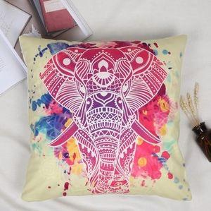 Boho bright colourful elephant pillow case
